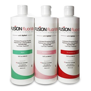 Fusion Fluoride Gel - STRAWBERRY 16 oz. Bottle. 1.23% APF. 60-second acidulated phosphate