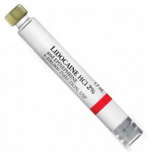 House Brand Lidocaine HCL 2% with Epinephrine 1:100,000 Local Anesthetic, Box of 50 - 1.7 mL
