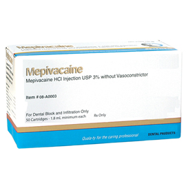 House Brand Mepivacaine 3% Local Anesthetic PLAIN, Box of