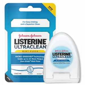 Listerine Ultraclean Dental Floss - Mint Flavored, Waxed 72/Pk. Shred-resistant dental floss
