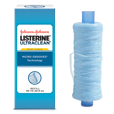 Listerine Ultraclean Mint flavored shred-resistant dental floss with micro-groove technology