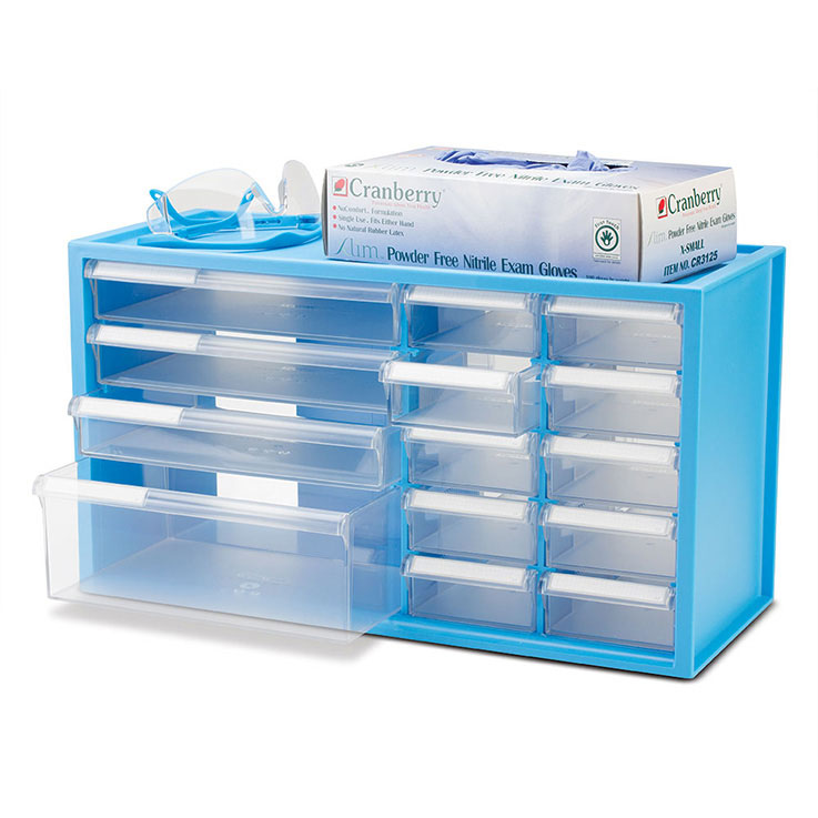 BenchTop Countertop Storage Cabinet with 14 Drawers - NEON BLUE Frame ...