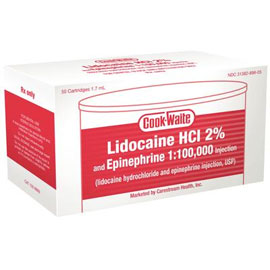 Cook-Waite Lidocaine Lidocaine HCL 2% with Epinephrine 1:100,000