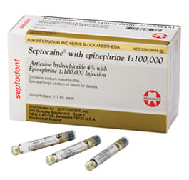 Septocaine Articaine 4% with Epinephrine 1:100,000. Box of 50 - 1.7