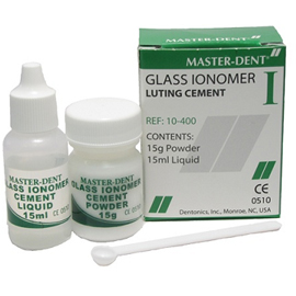 Master-Dent Glass Ionomer Cement with Fluoride, Self-Cure, White, Kit: 15 gram Powder and 15 gram