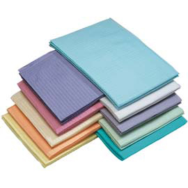 "House Brand Blue Plain Rectangle (13"" x 18"") 2 ply Paper/1 ply Poly Patient Bib, Case of 500 Bibs"