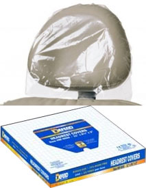 "Defend Headrest Covers 9.5"" x 14"" x 2"" Clear Plastic, Disposable. Box of 250"