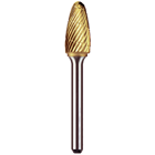 Euro Goldies A-1/2 Lathe Type, Titanium-Nitride Coated Carbide Bur, on a 1/4 Shank. Single Bur