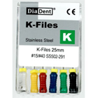 DiaDent K-Files 25mm #15 6/Box. Stainless Steel K-Files