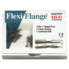 Flexi-Flange Red #1 Titanium Post. Refill: 10 serrated posts with flange, 1 primary reamer and 1