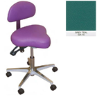 Galaxy Hygienist Stool with Back Support - Grey Teal Color. With 2-way adjustable height and back