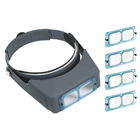 JSP Binocular headband magnifier with 4 different strength, glass lenses. Includes #2, 3, 5, 7