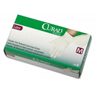 Curad Latex Exam Gloves: SMALL 100/Bx. Powder-Free, Textured, Beaded Cuff, Non-Sterile, Beige
