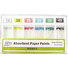 Meta Absorbent Paper Points - Assorted #15,20,25,30,35,40 Color Coded, Sterile, Hand-Rolled