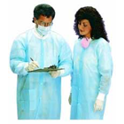 Defend Lab Coat - LARGE, Blue 50/Pk. Disposable/Reusable, Fluid-resistance Lab Coats with Knit