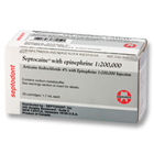 Septocaine Articaine HCl 4% with Epinephrine 1:200,000. Box of 50