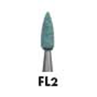Dura-Green FL2 flame FG (friction grip) Shofu Dental silicon carbide finishing stones, box of 12