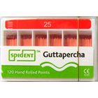 Spident Gutta Percha Points size #25, Hand Rolled / Color Coded, Package of 120