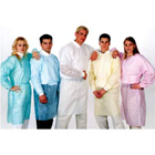 ValuMax Isolation Gowns Knit Cuff BLUE. Disposable, knee-length, open at the back, latex-free
