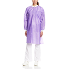 Extra-Safe Lab Coats - Purple Large 10/Pk. Knee-Length, Light-Weight, Breathable, with Snap-Front