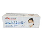 Ultra 3-in-1 Sensitive Ear-Loop Mask - WHITE, Ultra High Filtration PFE 99.7 at 0.1micron, Ultra