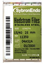 SybronEndo #25, 25mm Hedstrom Files 6/Box. Stainless Steel