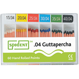 Spident #20 .04 Tapered Gutta Percha Points, Hand Rolled, Color Coded, Box of 60 points