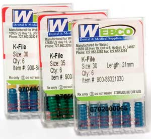 Webco K-Files 31mm #15-40 Assorted 6/Box. Stainless Steel