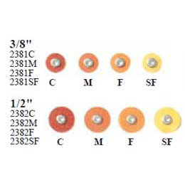 "Sof-Lex XT Extra Thin F&P Discs - Coarse 1/2"", Pop-On, Polyester Film, Dark Orange, Package of 85"