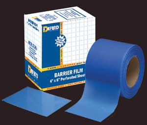 "Defend 4"" x 6"" Blue Barrier Film (Roll Only) with a low tack adhesive backing, perforated sheets"
