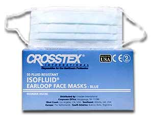 Isofluid Earloop Masks - Pink, Fluid Resistant Outer Layer, White Tissue Inner Layer, BFE >98.4%