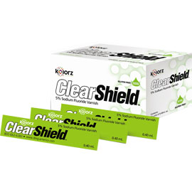 Kolorz ClearShield Varnish - Mint 35/Pk. 5% Sodium Fluoride Varnish goes on clear, with no