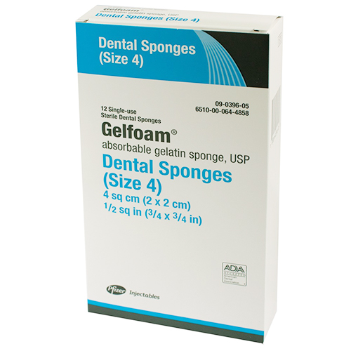 GelFoam Absorbable Dental Sponges - Size 4 (6) Small, Sterile. Surgical sponges prepared