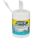 "Force2 6"" x 6.75 Disinfectant Wipes 220/Canister. Non-Irritating and Non-Toxic"