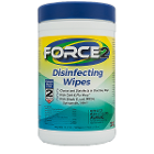 "Force2 6"" x 7 Disinfectant Wipes 180/Canister. Non-Irritating and Non-Toxic"
