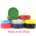 "TOL RED Retainer Boxes, 50/Pk. Plastic with Hinged Lid, 3""W x 1""H"