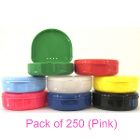 "TOL PINK Retainer Boxes, 250/Bulk Pack. Plastic with Hinged Lid, 3""W x 1""H"