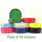 "TOL GREEN Retainer Boxes, 50/Pk. Plastic with Hinged Lid, 3""W x 1""H"