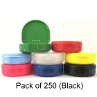 "TOL BLACK Retainer Boxes, 250/Bulk Pack. Plastic with Hinged Lid, 3""W x 1""H"