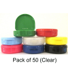 "TOL CLEAR Retainer Boxes, 50/Pk. Plastic with Hinged Lid, 3""W x 1""H"