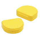 "TOL YELLOW Retainer Boxes, 50/Pk. Plastic with Hinged Lid, 3""W x 1""H"
