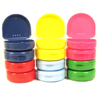 TOL 12 assorted colored retainer boxes. Plastic with hinged lid and air holes