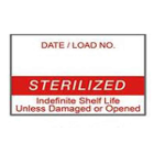"Labelex Sterilization Labels, ""STERILIZED"" in Red, Dual-Ply, 500/roll, 12"