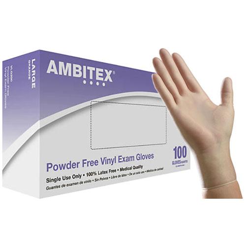 ambitex vinyl powder free gloves large box of 100