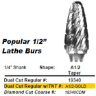 "Abbott-Robinson A1/2 dual cut taper shape 1/2"" TNT-coated tungsten carbide"