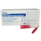 "Monoject #400 25 gauge Long (1.25"") sterile disposable RED plastic hub needles"