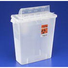 "Sharps Container 5 quart Transparent Red, Always-Open Lid. 11""H x 4-3/4""D x"