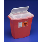 Sharps Container, 5 quart Tortuous Path Red Translucent. One-hand, one-step