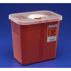 Sharps Container, 3 Gallon Red Transparent