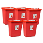 SharpSafety Sharps Containers 18 Gallon with Sliding Lid, Red. Case of 5